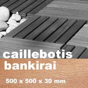 DALLE CAILLEBOTIS EN BOIS EXOTIQUE BANKIRAI - 500 X 500 X 30 MM