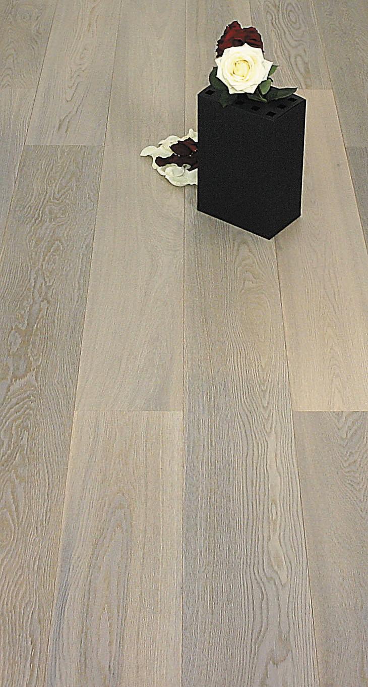 Parquet Contrecollé Chêne Premier/Rustique - 14 x 190 mm - huilé gris clair - LPLE