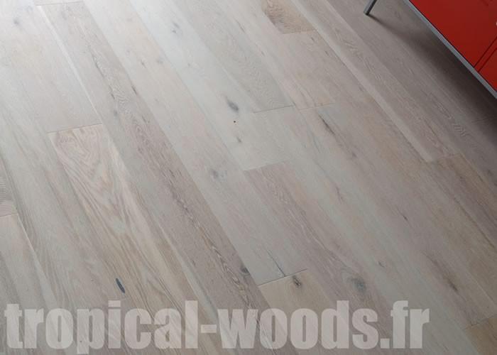 Parquet Contrecollé Chêne Rustique - 19 x 250 mm - brossé - huilé aspect brut
