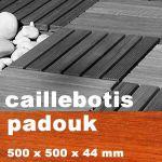 Dalle caillebotis en bois exotique Padouk - 500 x 500 x 44 mm - 7 lames lisses