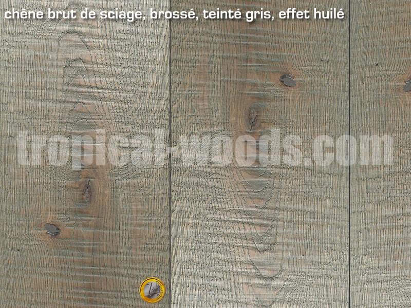 Parquet contrecolle Chene - 15 x 190 mm - brut - gris - colis de 2,166 m2