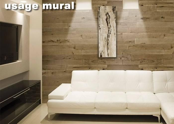 Parquet contrecollé chêne PR - 5 x 130/150 mm - 5 millimètre -Verni- Blanc
