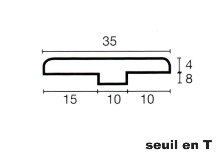 Seuil en T en Teck - 12 x 35 x 1100 mm - Brut
