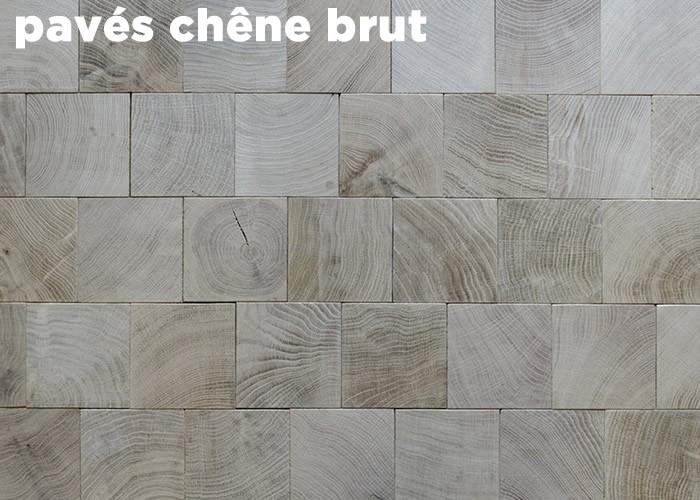 Parquet massif en bois de bout Chêne - 18 x 100 x 100 - Brut