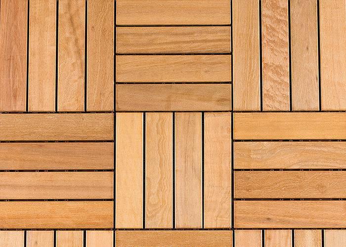Dalle caillebotis en bois exotique Itauba - 430 x 430 x 44 mm - 6 lames Striées - PROMO