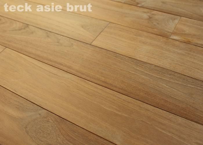 Parquet contrecollé Teck Asie - 10 x 70 x 500/600 mm - Brosse Verni