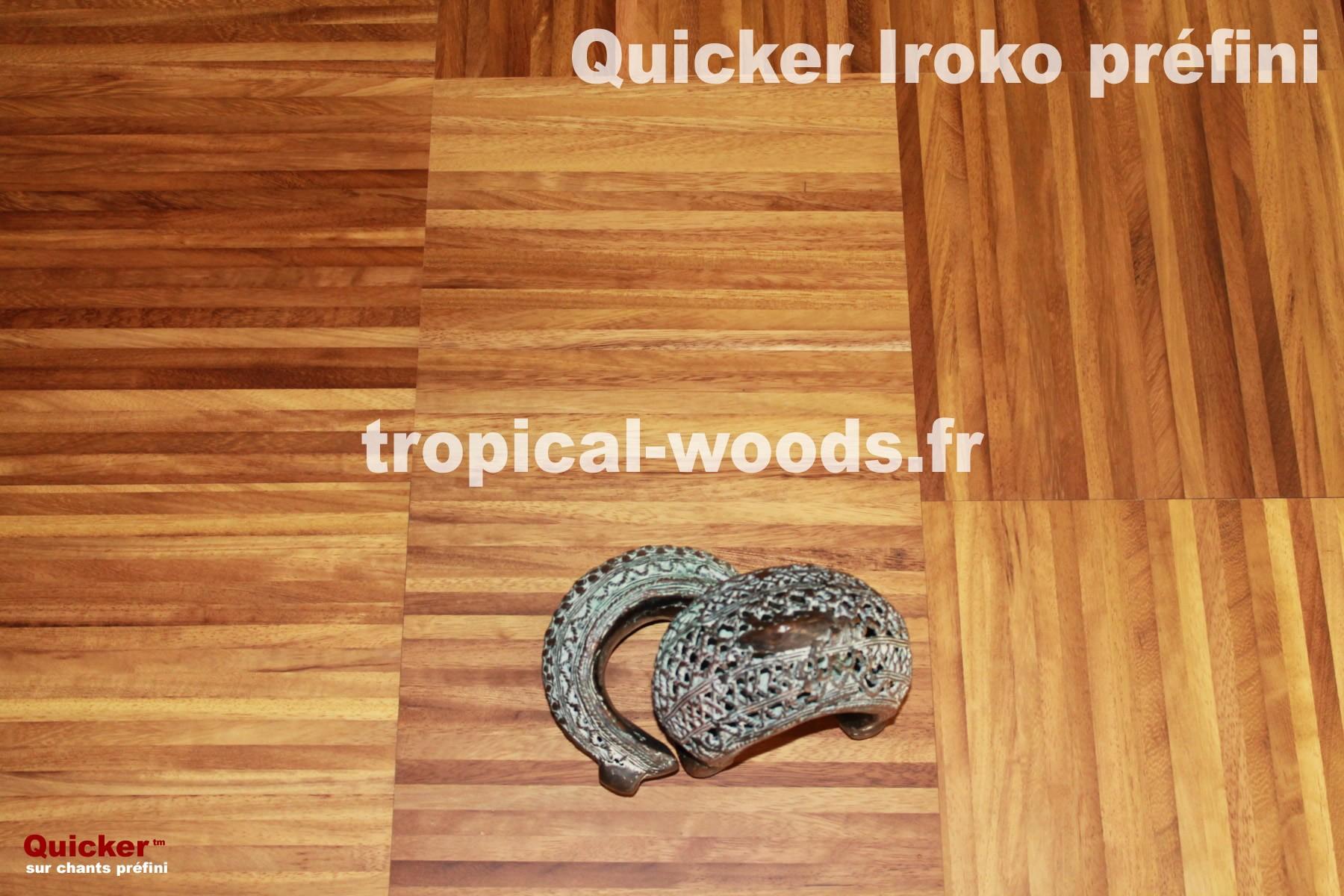 Parquet Industriel Iroko sur chants préfini Quicker - 14 mm