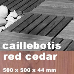 Dalle caillebotis en bois exotique Red Cedar - 500 x 500 x 44 mm