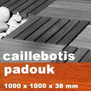 Dalle caillebotis en bois exotique padouk 1000 x 1000 x - Caillebotis bois exotique ...