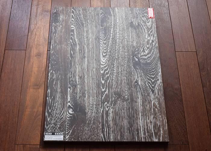 Parquet massif Chene Rustique - 20,5 x 140 mm - verni ultra mat - brossé - chocolat argenté