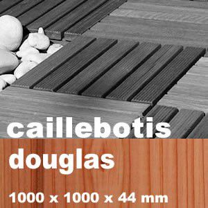 Dalle caillebotis en bois de résineux Douglas - 1000 x 1000 x 44 mm
