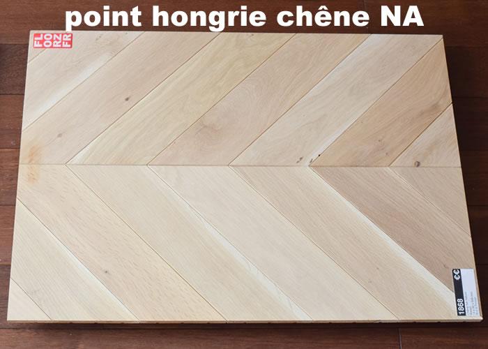 Parquet massif Chêne Premier Point Hongrie - 14 x 90 x 500/600 mm - Cérusé Blanc - Verni