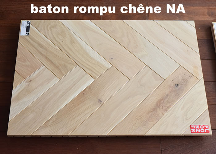Parquet contrecollé Chene premier Bâton rompu - 12 x 90 x 400 mm - Verni mat - PROMO