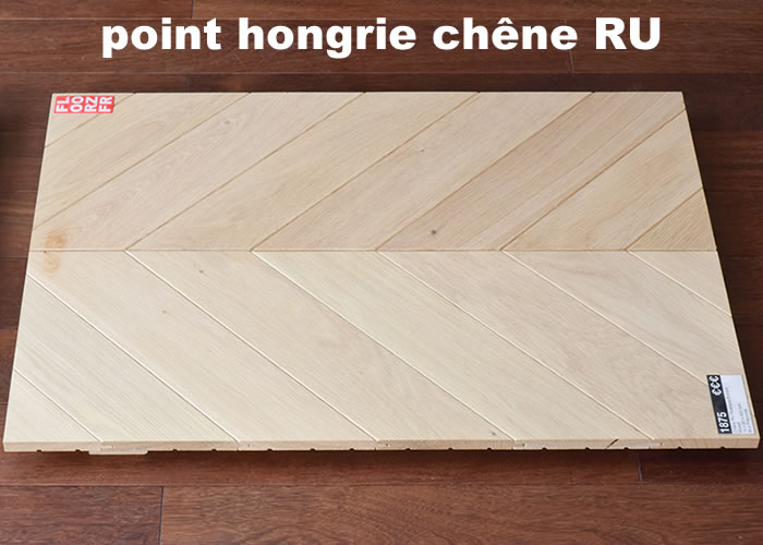 Parquet contrecollé Chêne Nature Point Hongrie - 16 x 90 x 600 mm - Brut