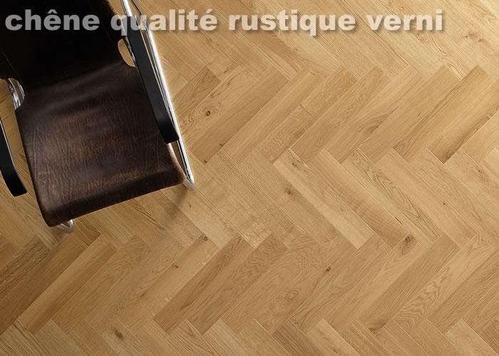 Parquet massif Chêne Rustique Bâton rompu - 14 x 70 x 500 mm - Verni - Neuilly