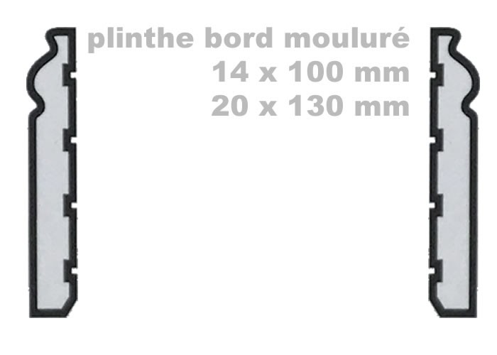 Plinthes Sirari - 20 x 50 x 2100 mm - bord rond - brut