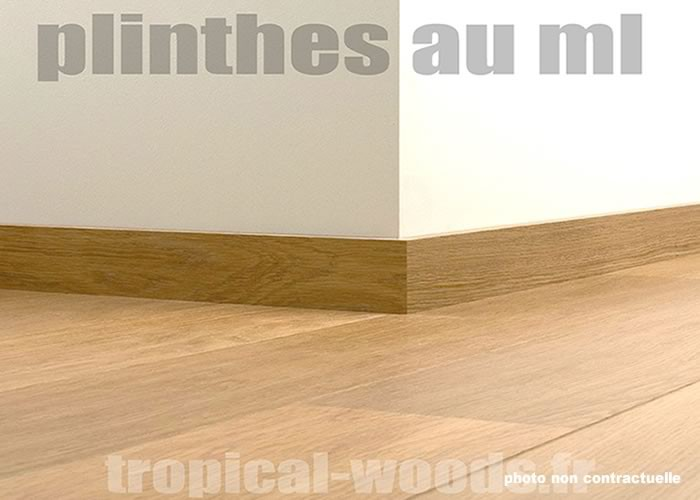Plinthes Chêne Rustique - 14 x 100 mm - bord rond - Verni Brillant - assorties DDCN