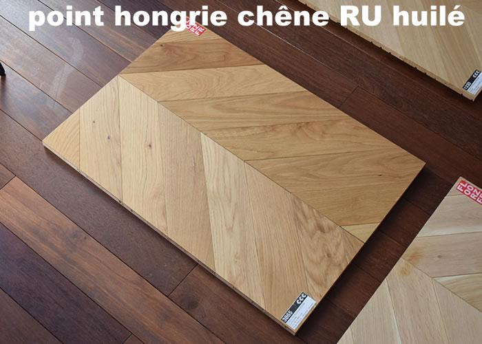 Parquet contrecollé Chêne Premier/Rustique Point Hongrie - 12 x 120 x 880 mm - Huilé incolore