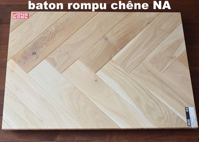 Parquet contrecollé Chene Nature Bâton rompu - 12 x 90 x 500 mm - Verni mat - PROMO