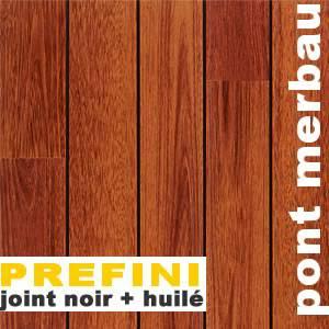 Parquets pont bateau massif filet bois en Merbau
