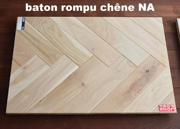 Parquet contrecollé Chêne Nature Bâton rompu - 12 x 90 x 600 mm - verni incolore - PROMO