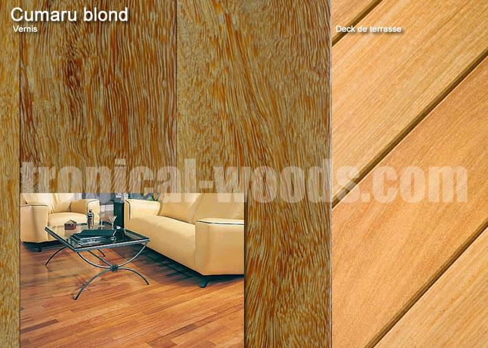 Parquet massif Cumaru Blond - 15 x 90 mm - verni mat