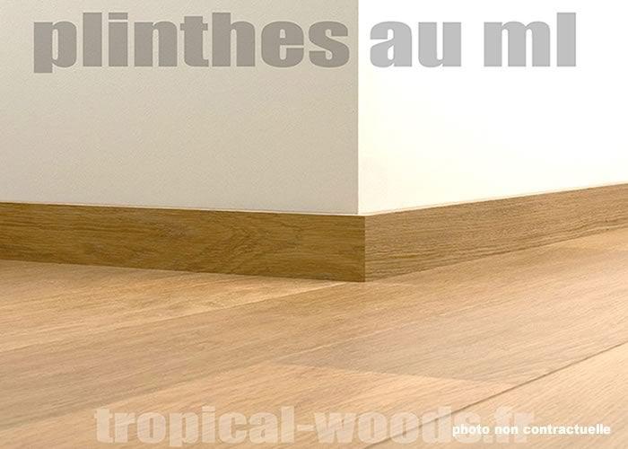 Plinthes chêne plaquées sur MDF - 15 x 80 x 2200 mm - bord rond - Verni
