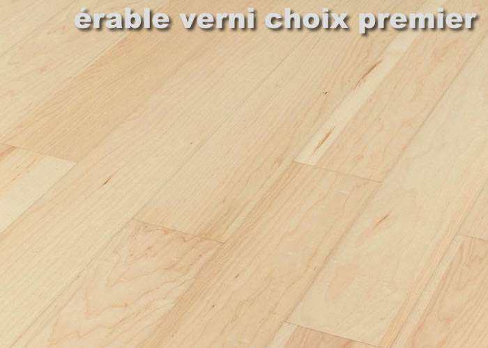Parquet massif Erable Sycomore Premier - 14 x 90 mm - Verni
