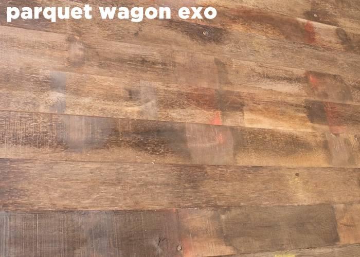 Parquet Plancher wagon de récupération Exotique WO - 18 x 120 à 180 mm - Bordeaux