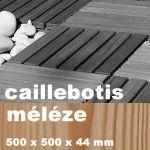 Dalle caillebotis en bois exotique Méléze - 500 x 500 x 44 mm - 7 lames Lisses