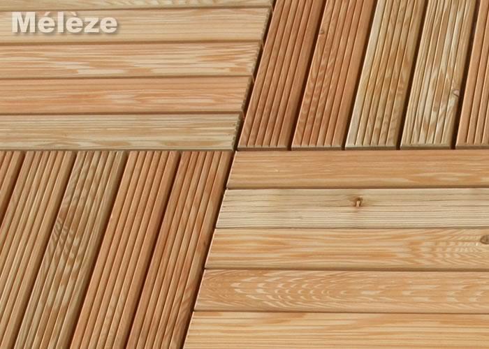Dalle caillebotis en Méléze - 500 x 500 x 44 mm - 4 lames Lisses