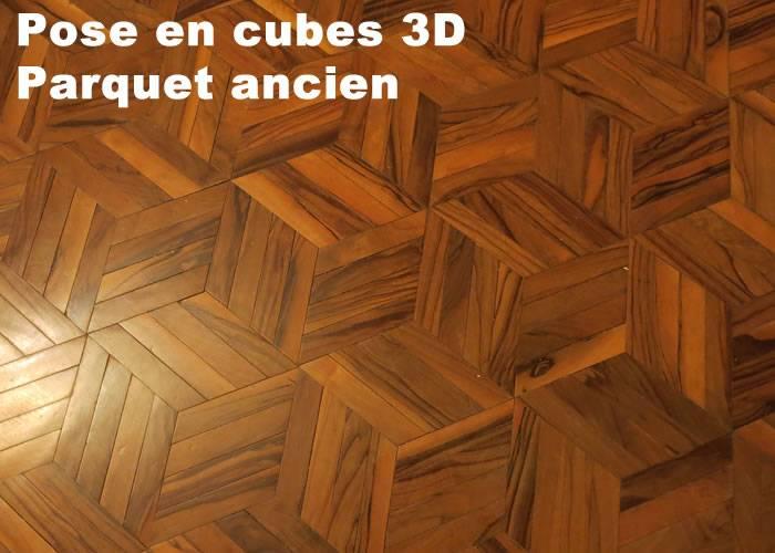 Parquet  massif planchette Olivier Prestige Motif Cube - 10 x 50 x 240 mm - brut