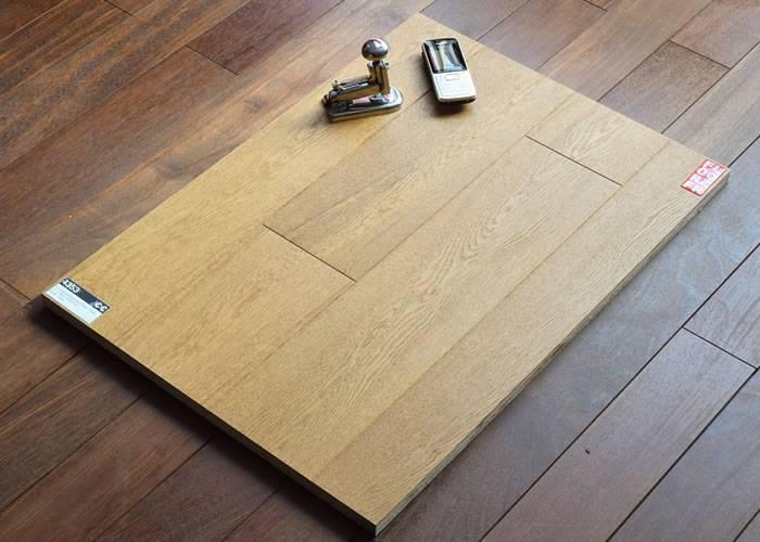 Parquet contrecollé Chêne Rustique - 10 x 150 x 1900 mm - verni - blanc