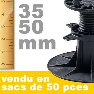 Plot de terrasse réglable - 035 à 050 mm - Lot de 6600