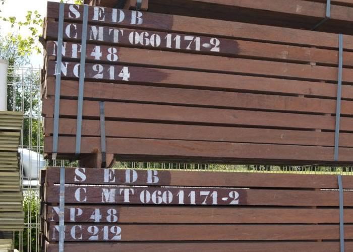 Traverses paysagères en Azobé - 150 x 200 x 2000 mm - S4S - Nancy