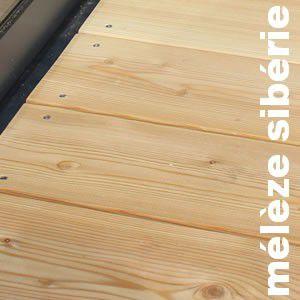 Terrasse - Lames parquet massif Meleze Sibérie - 27 x 143 mm - 1 Face Lisse / 1 Face Rainurée