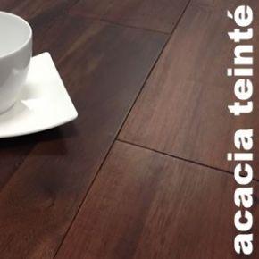 Parquet massif Acacia teinté noyer - 12 x 145 mm - verni mat - PROMO
