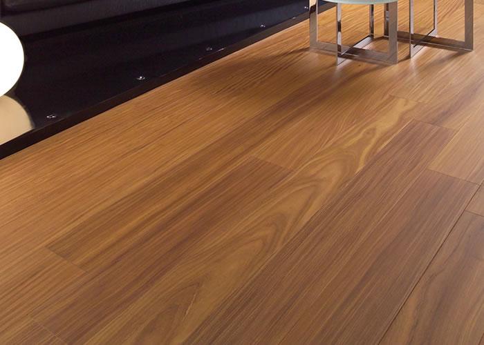 Parquet contrecollé Afrormosia - 15 x 180 mm - Verni