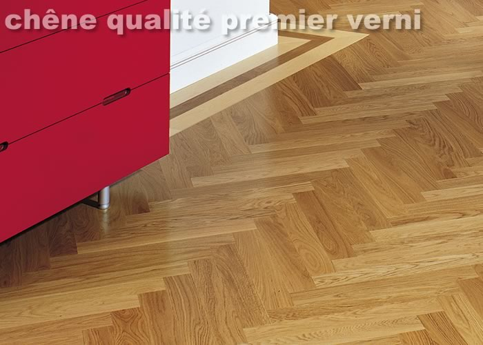 Parquet contrecollé Chêne Premier Bâton rompu - 11 x 90 x 600 mm - Verni