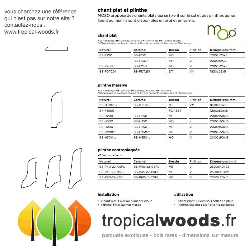 Plinthes plaquées Bambou - 13 x 82 mm - Verni - Vertical - Caramel
