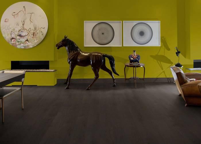 Parquet contrecollé Chêne Noir - 15,5 x 180 mm - Verni mat - Noir