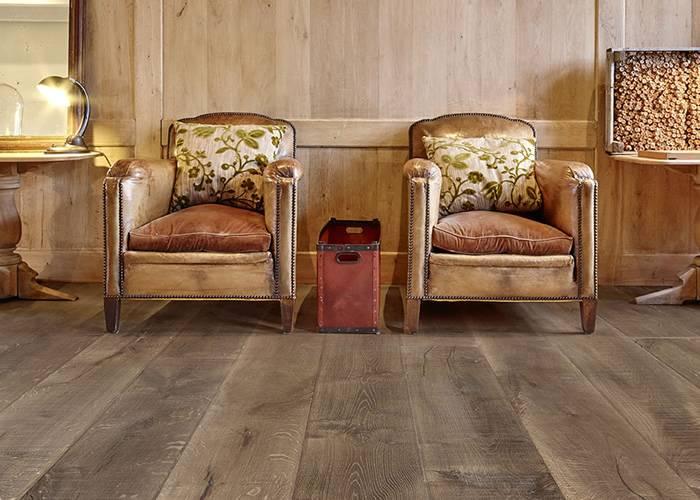 Parquet Contrecollé Chêne Rustique - 15 x 220 x 2200 mm - Huilé brun-gris - ultra mat