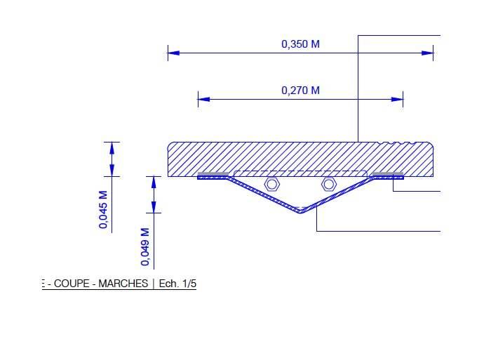 Marche sur mesure en Ipé massif - 20 x 250 x 1020 mm - brut