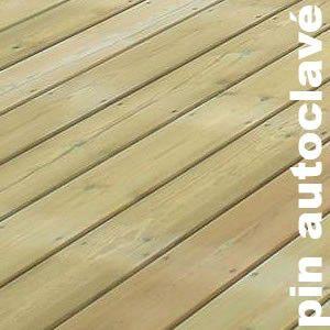 Terrasse - Lames parquet massif Pin du Nord - 27 x 143 mm - 1 face striée 2 peignes