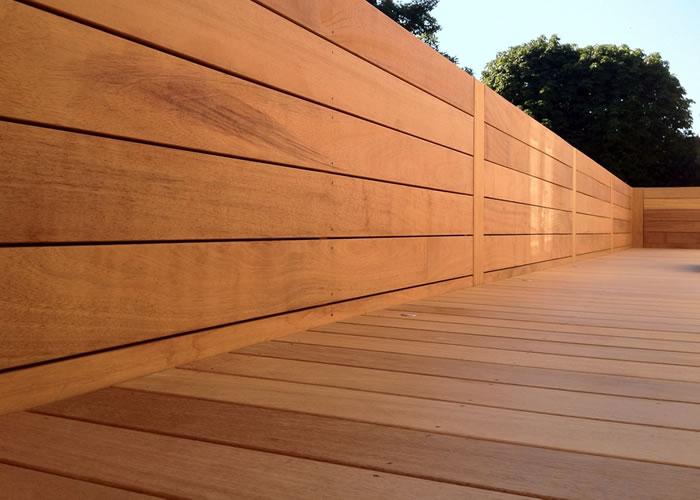 Terrasse - Lames parquet massif IPE - 19 x 140 x 1850 mm - 2 faces lisses - 21 lames soit 5,44m2