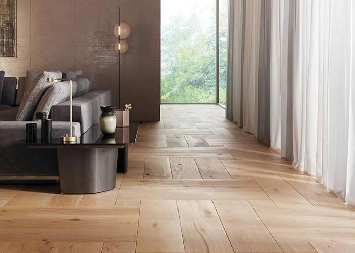 Parquet contrecollé Chêne Rustique - 15 x 230 x 1100 mm - Verni - Weave - 1,31 m2