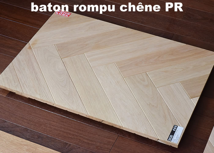 Parquet massif Chene Premier Bâton rompu - 15 x 90 x 500 mm - brut - Besançon