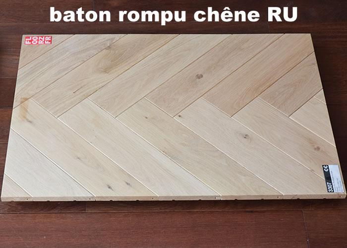 Parquet massif Chene Rustique Bâton rompu - 14 x 70 x 500 mm - verni mat
