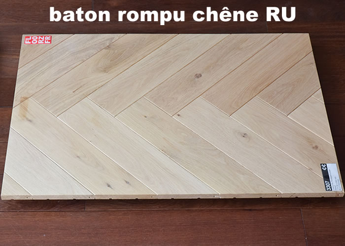 Parquet contrecollé Chêne Rustique Bâton rompu - 13 x 90 x 600 mm - verni
