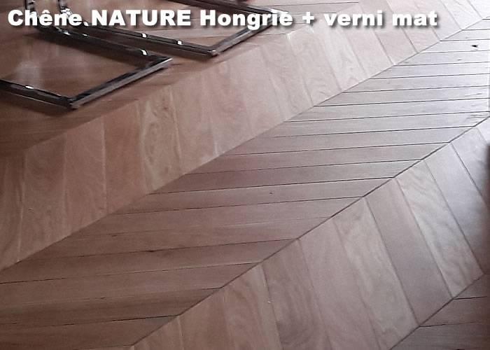 Parquet massif Chene Nature Point Hongrie - 14 x 90 x 500 mm - verni mat - PARIS